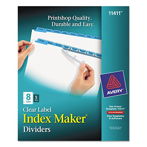 Avery 8-Tab Binder Dividers, Easy Print & Apply Clear Label Strip, Index Maker, Blue Tabs, 5 Sets (11411)