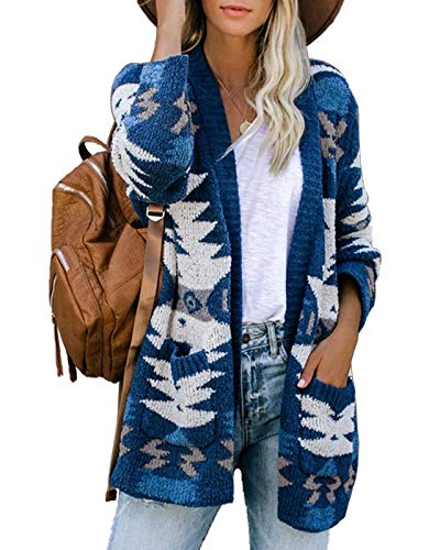 Ferbia Women Boho Cardigan Aztec Open Front Loose Slouchy Sweaters Tribal Long Sleeve Knitted Christmas Jacket Coat