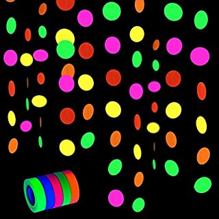 Fasdu Neon Party Set 83.5ft UV Blacklight Reactive Fluorescent Cloth Neon Gaffer Tape Extra Large Rolls and 72.2ft Neon Paper Garlands Circle Dots Banner Hanging Decorations for Glow Party Supplies