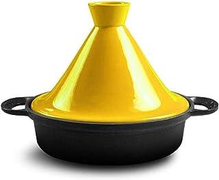 SHYOD Enamel Casserole, Pot Cast Iron Non-stick Pan Oven Soup Cooker Induction Universal (Color : Yellow)