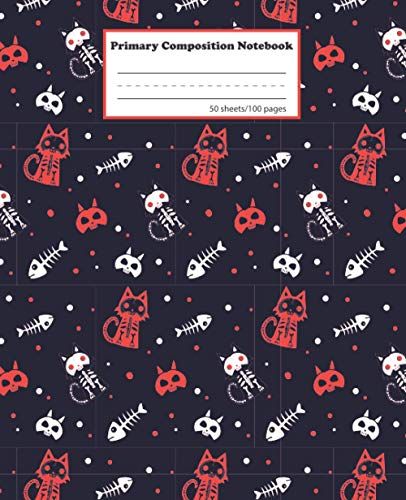 Halloween Primary Composition Notebook: Primary Story Journal for Boys and Girls | Grades K-2 Kindergarten Writing Journal | Draw and Write School ... Dotted Midline and Picture Space | Scary Cat