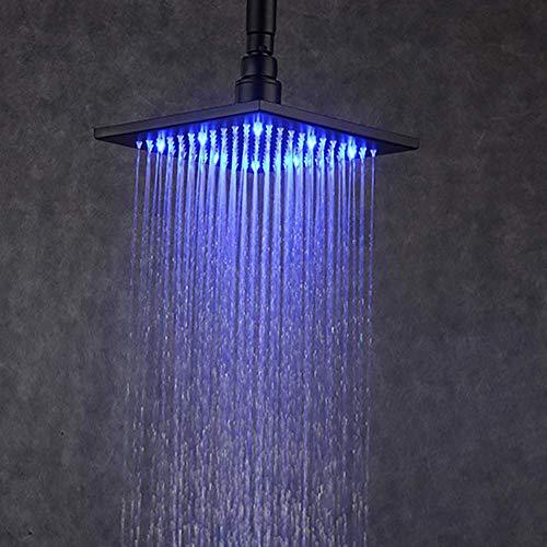 LHQ-HQ - Alcachofa de ducha LED con cabezal fijo de 8 pulgadas, sensor de temperatura de pulverización superior que cambia automáticamente de color, acero inoxidable, montado en la pared