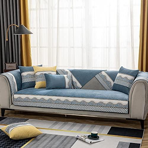 Fsogasilttlv Funda Ajustable Universal para sillón y sofá,Funda de Chenilla súper Suave para sofá Antideslizante, cojín, Toalla, Funda de sofá, Funda de Asiento para Sala de Estar, Azul 90 * 90cm