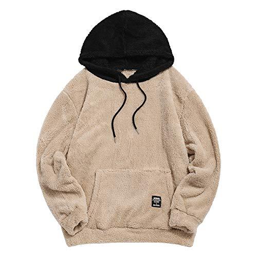 ZAFUL Herren Farbe Blockierung Fuzzy Hoodie Unisex Sherpa Zur Seite Fahren Lose Flauschige Sweatshirt (L, Khaki)