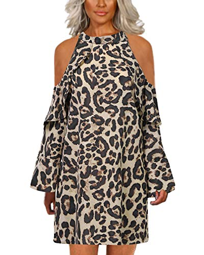 YOINS Vestido para Mujer Leopardo Elegante Blusa de Manga Larga Hombro Frío Tops Cuello Redondo Estampado Fiesta Leopard-Amarillo M
