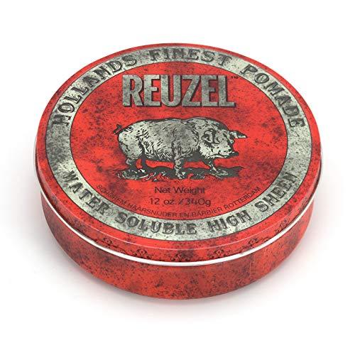 Reuzel - Red Water Soluble High Sheen Pomade - Für alle Haartypen - Starker Halt und hoher Glanz - Formel auf Wasserbasis - Leicht auszuspülen - Härtet nicht aus und flockt nicht - Karamellduft - 12 oz/340 g