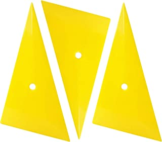 SYTASOO 3PCS Yellow Triangle Plastic Scraper Vehicle Vinyl Film Sharp Squeegee for Car Wrapping (Triangle)