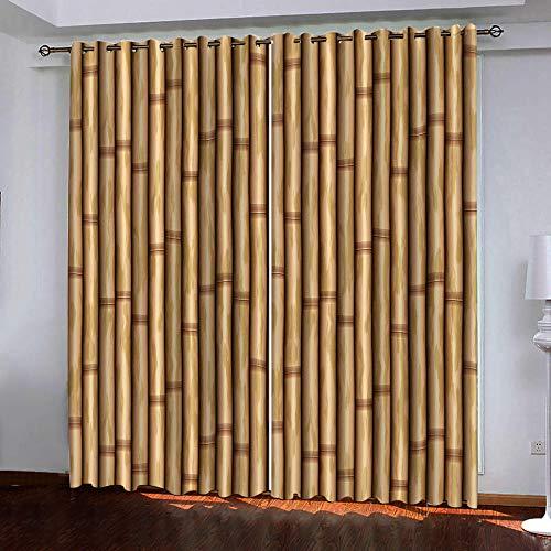 RYQRP Gardine 3D Bambus Vorhang Blickdicht Polyester mit Ösen 2er Set Verdunkelungsvorhang für Schlafzimmer Kinderzimmer Wohnzimmer Dekoration 150x166cm