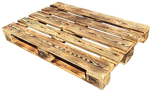 Dydaya 4 Palets Europeos de 80x120 de Madera Quemados y Lijados para Muebles y Decoración (Quemados, 4)