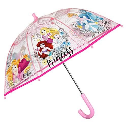 Paraguas Transparente Princesas Disney Nia - Paraguas Infantiles Manual de Cpula Estampado Las Princesas Disney - Resistente Antiviento y Largo - Pequeas 3/5 Aos - 64 cm Dimetro - Perletti Kids