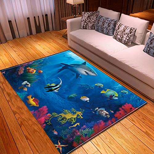 Home Rug, Kids Cartoon Underwater Shark Coral Seahorse Carpet, Playroom Study Room Decoration Baby Toddler Mat 140x200cm