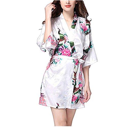 DOTBUY Damen Morgenmantel Kimono Satin Kurz Nachtwäsche Bademantel Robe Schlafanzug Mit Peacock und Blumen V Ausschnitt Mit Gürtel Nachthemd Negligee Nachtwäsche Pyjama