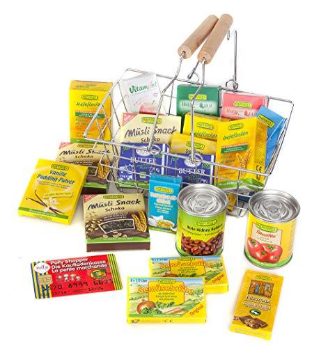 Polly Kaufladen Naturkost Einkaufskorb gefüllt mit Bio-Produkten | Kinder Spielzeug für den Kaufmannsladen | Kinderkaufladen Miniaturen
