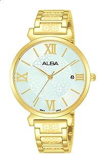 ساعة انالوج بعقارب منقوشة بسوار ستانلس ستيل للنساء من البا Fashion - ذهبي