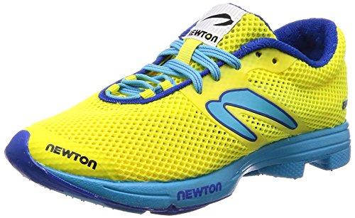 Newton Running Distance Elite, Zapatillas de Running Mujer, Amarillo neón Amarillo Azul 001, 39 EU