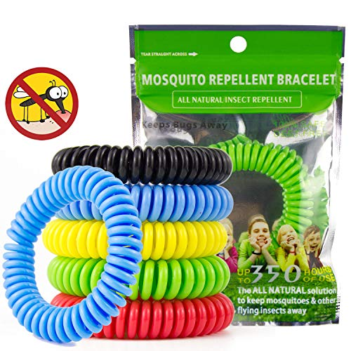 JAMSWALL Mosquito Repellent Bracelet 10 Pack Bug Repeller Wristbands Mosquito Killer Mosquitoe Wristbands, DEET Free Natural Citronella Oil Waterproof For Kids & Adults