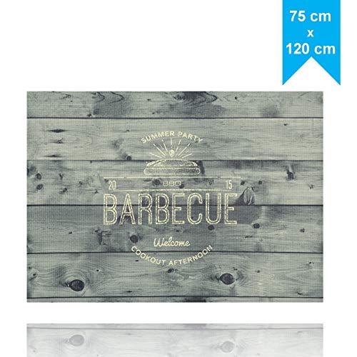 LILENO HOME Grill u. BBQ Matte (75 x 120 cm) grau - als perfekte bodenschutz Unterlage für Gas u. Holzkohlegrill - Grillunterlage Bodenschutzmatte für Familien-Grillabend auf der Terrasse