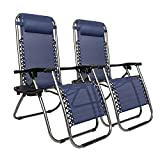 Bonnlo 2 PCS Folding Zero Gravity Chairs with Cup Holder& Head Pillow, Folding Recliner Sun Lounger Garden Chair for Patio Garden Camping Outdoor Indoor (Blue)