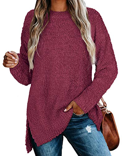 Tops for Women for Leggings Winter Crewneck Long Tunic Sweaters Side Slit Wine M