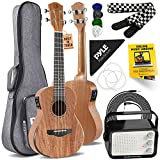 Acoustic Electric Ukulele and Amplifier Kit 23' Tenor 4 String Professional Mahogany Uke w/ 3W Amp, Strap, 4 Celluloid Picks, Gig Bag, Cleaning Cloth, Strings, For Beginners & Advanced
