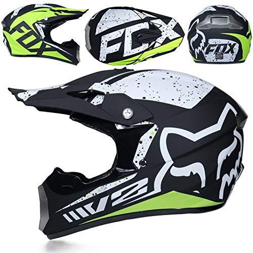 LIUBOLI Motocrosshelm/Integralhelm Für Rennen/ECE Downhill Dirt Bike MX ATV KTM Motorradhelm Für Erwachsene/Integralhelm Für Erwachsene Handschuhe + Maske + Brille,Style7-XL
