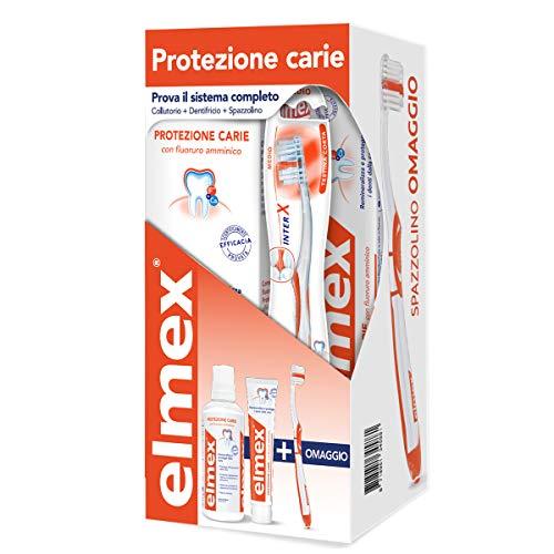 elmex Kit Protezione Carie 3in1 Dentifricio, Spazzolino e Collutorio per Protezione Carie, Remineralizza e Protegge i Denti dalla Carie