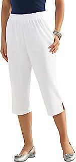 Women's Plus Size Soft Knit Capri Pant Pull On Elastic Waist
