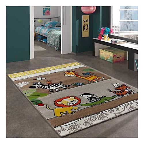 UN AMOUR DE TAPIS Zoo Too 60x110 cm Tapis Enfant Tapis Chambre Tapis Rectangulaire Tapis Gris