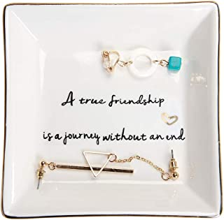 HOME SMILE Friends Gifts Ring Trinket Dish-A True Friendship is a Journey Without an end