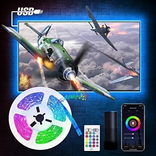 Smart 2M LED TV Hintergrundbeleuchtung, Etersky Alexa Led Fernseher Strip Streifen, RGB Wlan Lichtband kompatibel mit Alexa, Google Assiatant, Sync mit Musik für 40-55 TV-Bildschirm und PC-Monitor