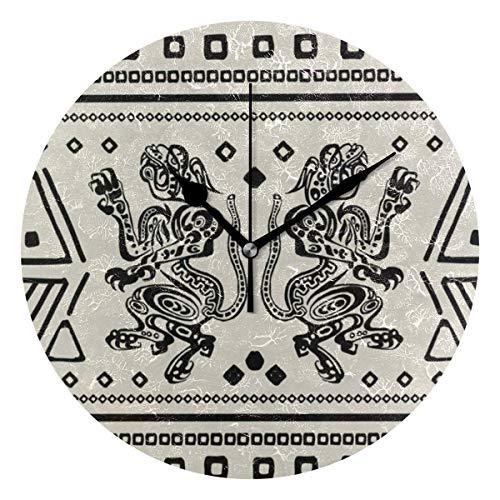 Butty Reloj de Pared Redondo con Estampado Maya de jaguares Aztecas Mexicanos, Reloj silencioso sin tictac, Decorativo para el Dormitorio de la Sala de Estar de la Oficina