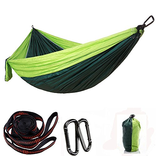 KNJF Portable Double Camping Hammock Lightweight and Portable Hanging Single Bed and Double Nylon Camping Hammock Swing Bed 300 * 200cm (Color : Fruit green+dark green)