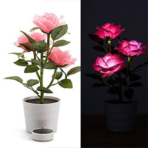 TianranRT Solar Rose Blume Beleuchtung LED Künstlich Rose Topf Blume Bonsai LED Lampe (Rosa)