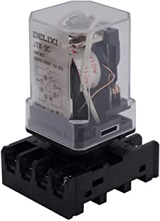 AiCheaX/JTX-2C, MK2P-I DPDT Power Relay with Plug-in Terminal Socket Base, AC 12V Coil, 8 Pin 2NO 2NC (Quality Assurance f...