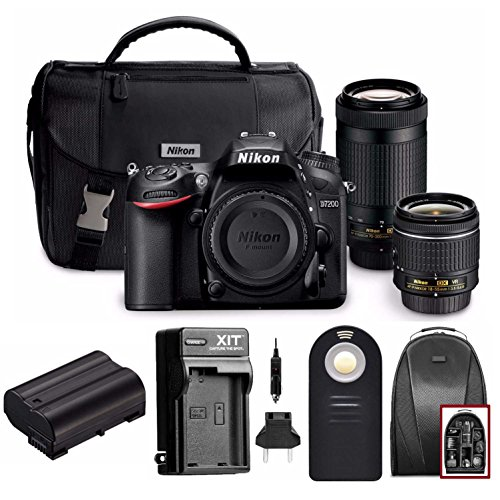 Nikon D7200 DSLR Camera with 18-55mm and 70-300mm Dual Lenses + Accessory Bundle