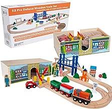 Orbrium Toys 52 Pcs Deluxe Wooden Train Set with 3 Destinations Fits Thomas, Brio, Chuggington, Melissa and Doug, Imaginarium Wooden Train