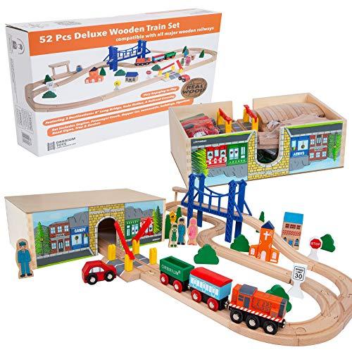 Orbrium Toys Deluxe Wooden Train Set