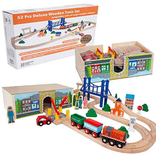 Orbrium Toys 52 Pcs Deluxe Wooden Train Set with 3 Destinations Fits Thomas,...