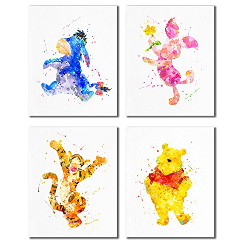 Winnie the Pooh Watercolor Prints - Nursery Wall Art Decor Prints - Set of 4 (8 inches x 10 inches) Photos Tigger Eeyore Piglet