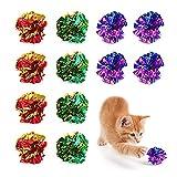Mlysnd Mlysnd Pelota Gato, 12 Piezas Juguetes de Gatos Vistoso Juegos Gatos con Sonido Crujiente para Jugar e Interactuar con Gatos (5cm, Color Aleatorio)