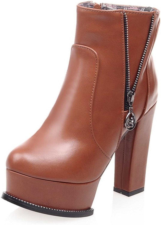 Fashion Heel Womens Side Zip Platform Ankle Boot Chunky Heel