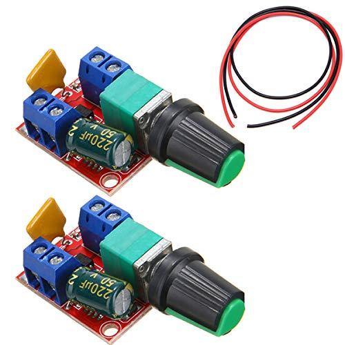 Youmile 2PACK 5A Motor Drehzahlregler Modul Mini DC Motor PWM Drehzahlregler Schalter Regler Schalter LED Dimmer 3V 6V 12V 24V 35V Max 90W