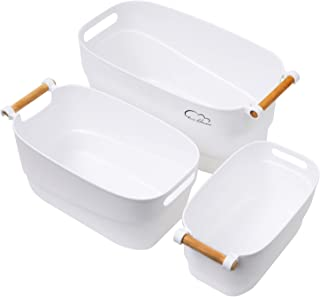 Plastic Storage Bin with Wood Handle, 3-Pack White Storage Baskets Assorted Size for Kitchen, Bathroom, Shelf, Under Sink,...