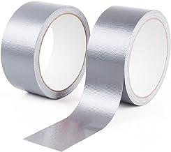 2 rollos de cinta adhesiva de alta resistencia plateada de 48 mm x 9 m
