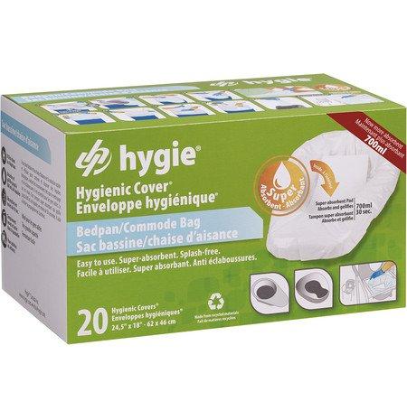Bedpan/Commode Bag Hygienic Covers® Stuhlbeutel mit superabsorbierendem Pad für Toiletteneimer/Toilettenschüssel und Steckbecken/Bettpfannen