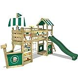 WICKEY Aire de jeux bois StormFlyer avec balançoire et toboggan vert, Maison enfant exterieur avec bac à sable, mur d'escalade & beaucoup d'accessoires de jeux