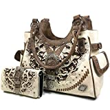 Zelris Women Tote Handbag Wallet Set Western Gleaming Buckle Floral Cowgirl Concealed Carry Purse (Beige)