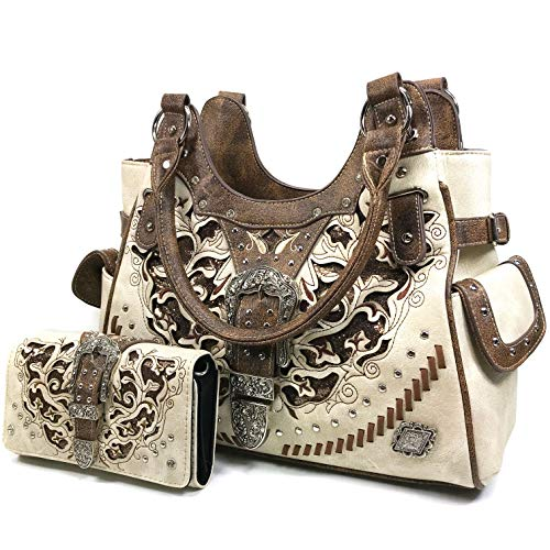 Zelris Women Tote Handbag Wallet Set Western Gleaming Buckle Floral Cowgirl Concealed Carry Purse