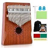 Donner Kalimba 17 Teclas Thumb Piano Marimba Instrumento Musical Portátil con martillo de afinación, Madera de Caoba Maciza, DKL-17