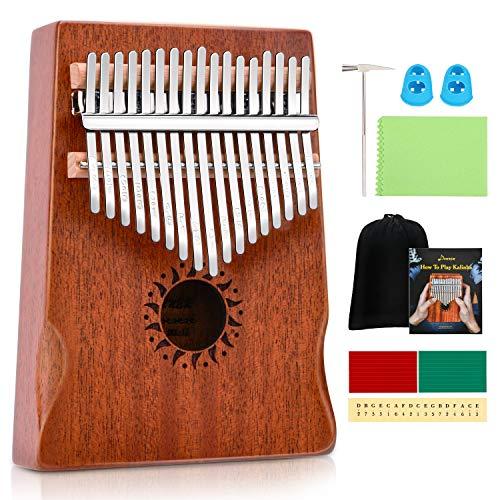 Donner Kalimba 17 Schlüssel Daumenklavier Thumb Piano Finger Klavier Instrument Solid Mahagoni, DKL-17